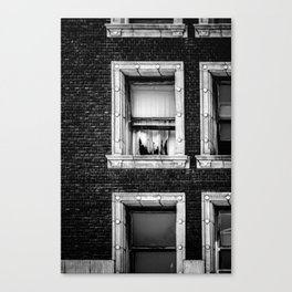 Brick Wall, Window, Torn Curtains in Los Angeles Canvas Print