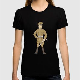 World War One British Officer Sword Standing Cartoon  T-shirt