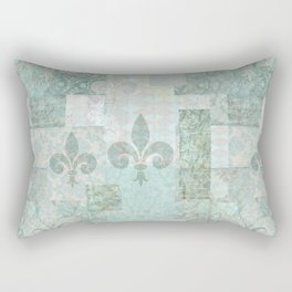 teal baroque vintage patchtwork Rectangular Pillow