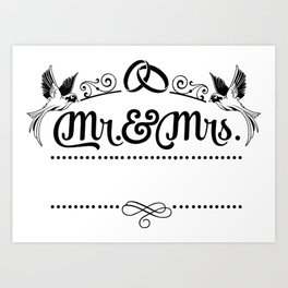 Mr and Mrs - Draw Your Name Self Art Print