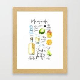 Margarita Recipe Watercolor Illustration Framed Art Print