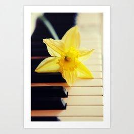 piano flower Art Print