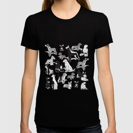 Geometric sweet wet noses // grey background black and white dogs T-shirt