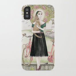 Girl and cat with pink bicycle iPhone Case
