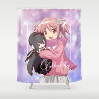madoka Shower Curtains featuring Madoka Kaname in Winter Dress by Neo Crystal Tokyo