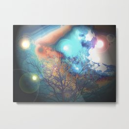 Turquoise and Orange Sky Tree Abstract Metal Print