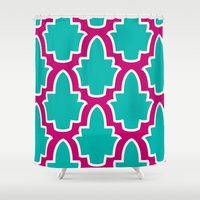 moroccan Shower Curtains featuring Moroccan by Farah Saheb