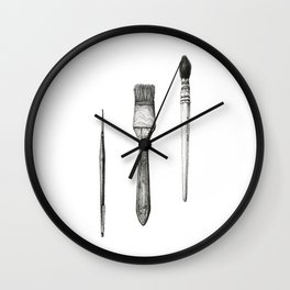 Retired Watercolor Brushes Wall Clock