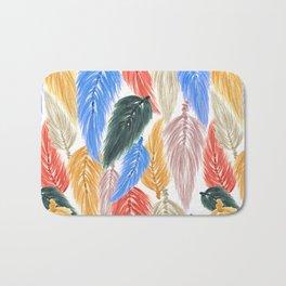 Watercolor Macrame Feather Toss in Earthy Rainbow Bath Mat