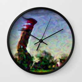 Lighthouse in a storm Wall Clock