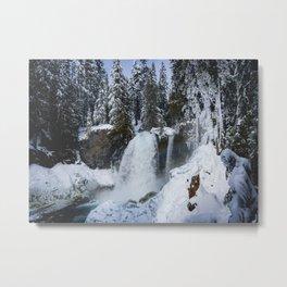 Winter Waterfall II - Pacific Northwest Nature Photography Metal Print