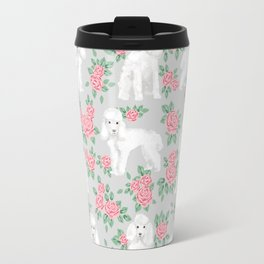 Toy Poodle floral bouquet pet portrait custom dog breed art pattern by pet friendly Travel Mug