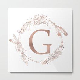 Letter G Rose Gold Pink Initial Monogram Metal Print