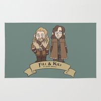 fili Area & Throw Rugs featuring Fili and Kili, at your service by Mhyin