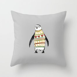 Cute penguin with a sweater Throw Pillow