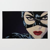 catwoman Area & Throw Rugs featuring Catwoman by Cassidy Dawn