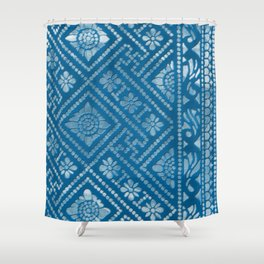 Blue Burnout Two Shower Curtain