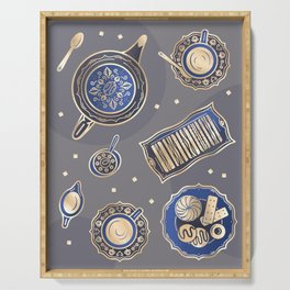 English Tea Party Pattern | Blue Serving Tray