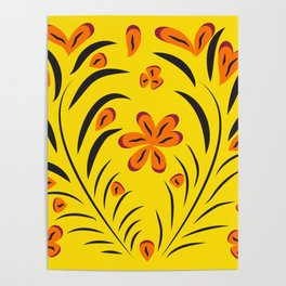 pattern with leaves and flowers paisley style Poster