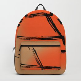 Black abstract Japan lines and marks on the orange setting sun Backpack
