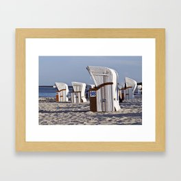 White Beach Chairs on the Isle of Ruegen Framed Art Print
