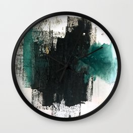 Empire: a minimal, abstract piece in teal and midnight blue by Alyssa Hamilton Art Wall Clock