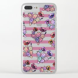 Modern geometric pink lavender ivory striped cactus floral Clear iPhone Case