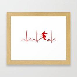 SKIING MAN HEARTBEAT Framed Art Print