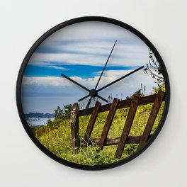 Wood Fence Lining a Meadow with Lake Views on Mombacho Volcano in Nicaragua Wall Clock