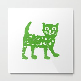 Green cat design, green cat pattern Metal Print