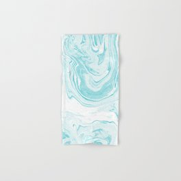 Giro - spilled ink abstract marble watercolor japanese painting marbling unique mint pastel  Hand & Bath Towel