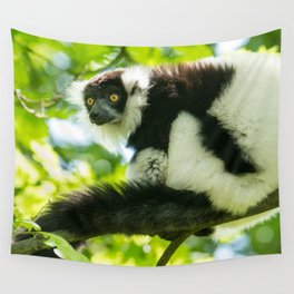 Black-and-white Ruffed Lemur Wall Tapestry