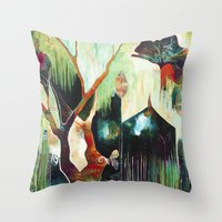 "flora bowley Throw Pillows featuring ""Temple Lilies"" Original Painting by Flora Bowley by Flora Bowley"