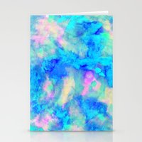 ice Stationery Cards featuring Electrify Ice Blue by Amy Sia