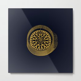 The golden compass I- maritime print with gold ornament Metal Print