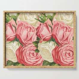 Coral pink blush cream ivory and green summer big roses Serving Tray