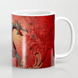 Funny dragon with floral elements Coffee Mug