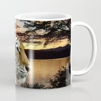 novelty Mugs featuring Sunset Tiger by Moody Muse