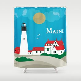 Maine - Skyline Illustration by Loose Petals Shower Curtain