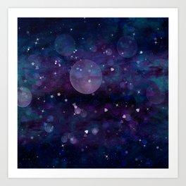 Dark Indigo Violet Sparkle Art Print