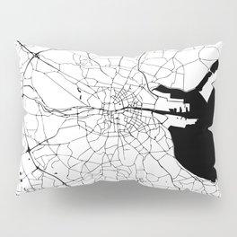 White on Black Dublin Street Map Pillow Sham