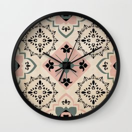Mediterranean Inspired Tiles in Pink and Black Wall Clock