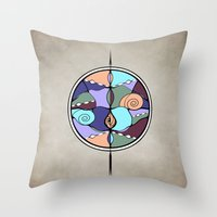 compass Throw Pillows featuring Compass by DebS Digs Photo Art