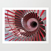 The Red Spiral Staircase in Ljubljana Art Print
