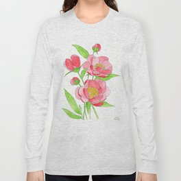 Pretty Pink Peonies Long Sleeve T-shirt