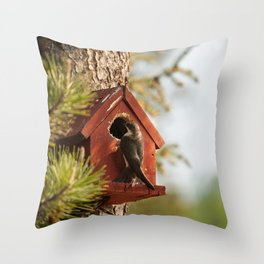 Brown Swallow Photography Print Throw Pillow