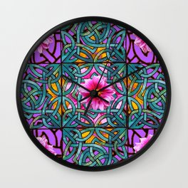 Lilac & Aqua Fuchsia Dahlias Inter-twining Art Nouveau Wall Clock