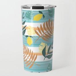 Botanical Collage With Stripes Travel Mug