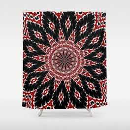 Black Red and White Bold Floral Kaleidoscope Shower Curtain