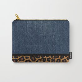 id No.1 Denim and Leopard Carry-All Pouch